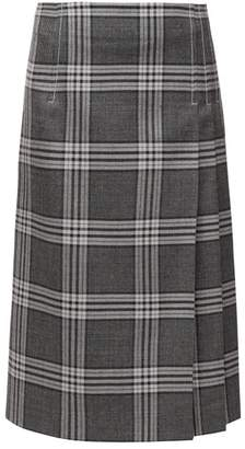 Marni Checked Pleated Midi Skirt - Womens - Grey