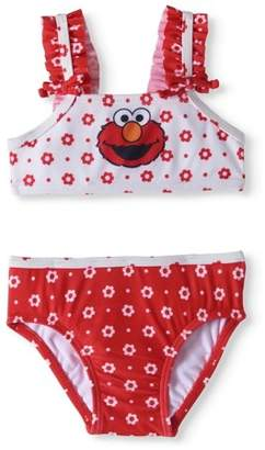 ELMO Seasame Street Baby Girl Ruffle Trim Bikini Swimsuit