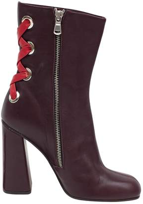 Suno Burgundy Leather Ankle boots