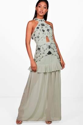 boohoo Boutique Halterneck Ruffle Maxi Dress