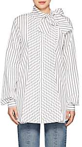 J.W.Anderson WOMEN'S STRIPED COTTON POPLIN BLOUSE - OFF WHITE SIZE 12 UK