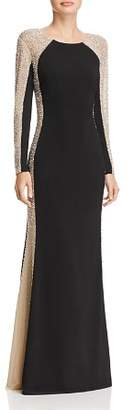 Avery G Beaded Color-Block Gown