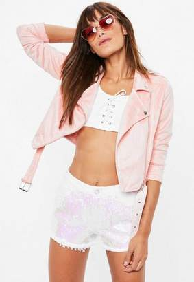 Missguided Pink Cropped Faux Suede Biker Jacket