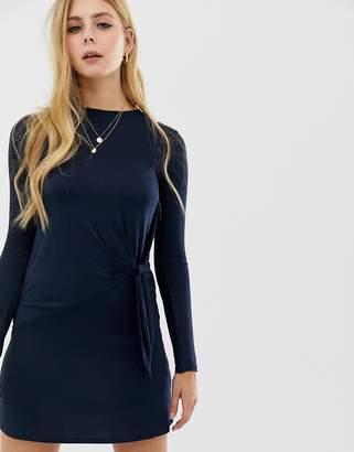 Brave Soul knot detail long sleeve mini dress in navy