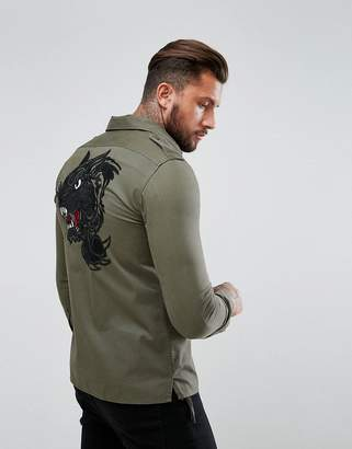 Replay Panther Back Embroidery Shacket
