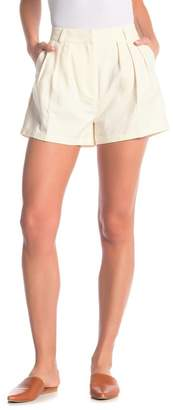 Frame Clean Linen Blend Pleated Shorts