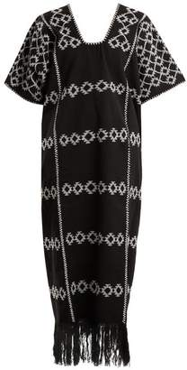 Holt - No.60 Embroidered Cotton Kaftan - Womens - Black White