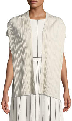 Lafayette 148 New York Short-Sleeve Pleated Silk Vest