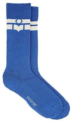 Isabel Marant Women's Vibe Logo-Striped Cotton-Blend Mid-Calf Socks - Blue