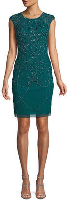 Aidan Mattox Jewel-Neck Cap-Sleeve Art Deco Beaded Fitted Cocktail Dress