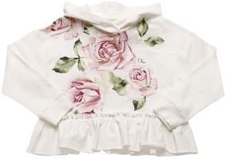 MonnaLisa Roses Print Cotton Sweatshirt Hoodie