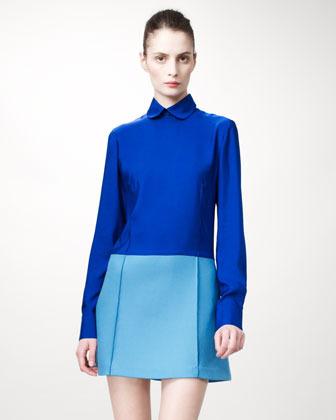 Stella McCartney Detachable-Collared Colorblock Dress, Blue