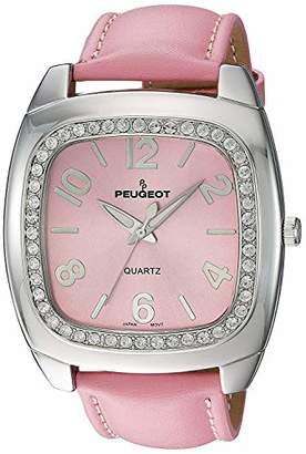 Peugeot Women's 310PK Silver-Tone Swarovski Crystal Accented Leather Strap Watch