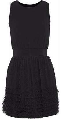 RED Valentino Tiered Point D'esprit And Stretch-Jersey Mini Dress