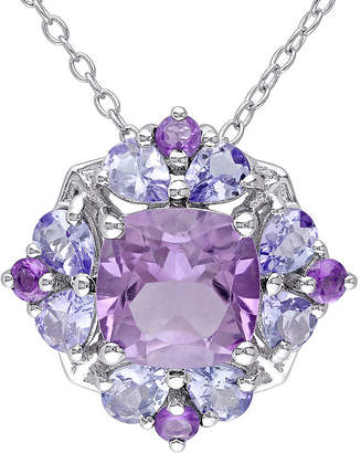 FINE JEWELRY Genuine Amethyst and Tanzanite Sterling Silver Pendant Necklace