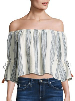 Tularosa Alexa Striped Off-The-Shoulder Bell Sleeves Cropped Top $138 thestylecure.com