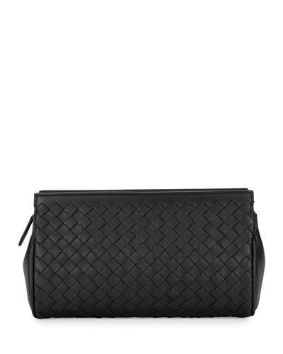Bottega Veneta Bottega Veneta Woven Leather Zip Wallet, Black