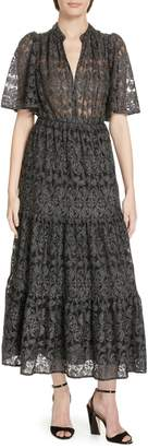 Kate Spade Metallic Embroidered Midi Dress