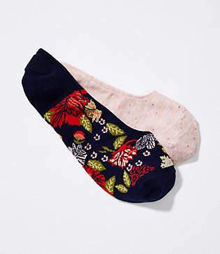 LOFT Speckled & Floral No Show Sock Set