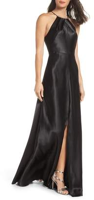 Jenny Yoo Cameron Halter Neck Satin Back Gown