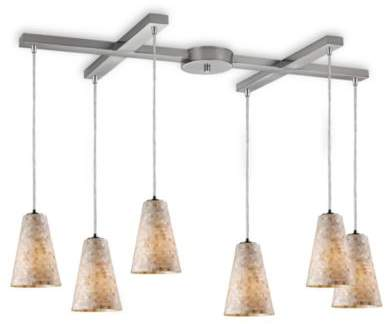 Bed Bath & Beyond Elk Lighting ELK Lighting Capri 6-Light Fluted Pendant in Satin Nickel