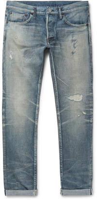 Co Fabric-Brand & Slim-Fit Distressed Selvedge Denim Jeans
