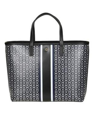 Tory Burch Gemini Small Bag In Fabric And Leather Color Black