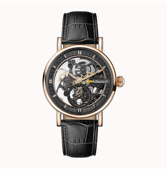 Ingersoll Herald Automatic with Rose Gold Ip Stainless Steel Case, Skeleton Dial and Black Croco Embossed Leather Strap
