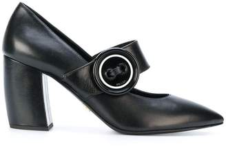 Prada buttoned Mary Jane pumps