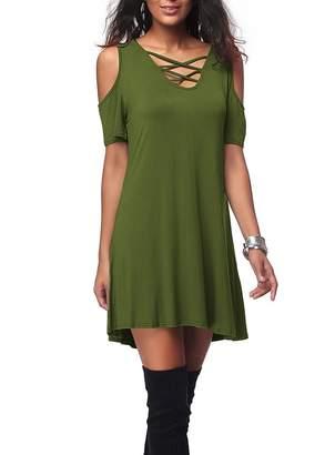 Sunfury Women Cold Shoulder Short Sleeve Criss Cross T-Shirt Dress with Pocket