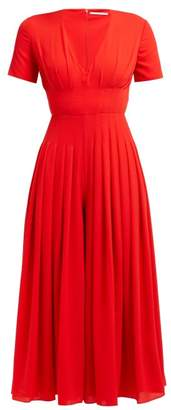 Emilia Wickstead Rona Pleated Crepe Jumpsuit - Womens - Red