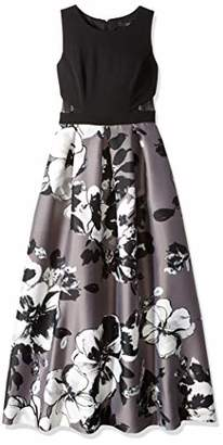 Sangria Women's Petite Floral Skirt Cut Out Waist Ballgown