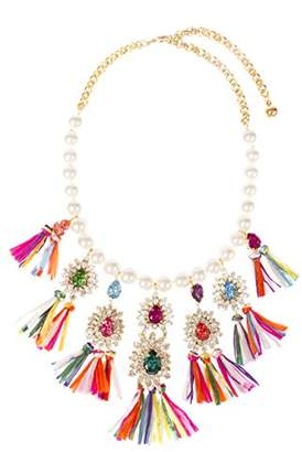 Shourouk Women Multicolour Crystal Statement Necklace of Length 50cm NSS18_AG007A