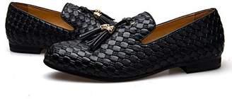 Bottega Veneta JITAI Men's Vintage Velvet Embroidery Noble Loafer Shoes Slip-on Loafer Smoking Slipper Tassel Loafer (10.5 D (M) Us, )