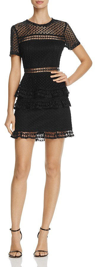 AQUA Dot Lace Tiered Dress - 100% Exclusive
