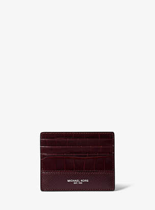 Michael Kors Harrison Crocodile-Embossed Leather Card Case