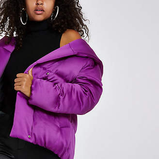 River Island Womens Bright Purple short puffer coat