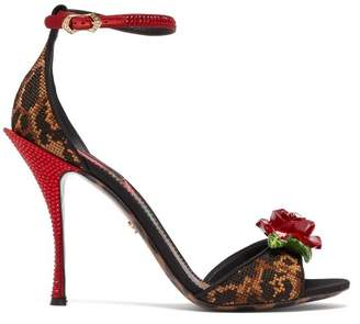Dolce & Gabbana Leopard And Rose Cross Stitch And Crystal Sandals - Womens - Leopard