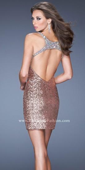 La Femme All-Over Embellished Plunge Back Halter Cocktail Dresses