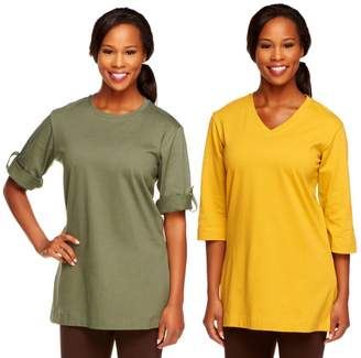 Denim & Co. Set of 2 Oversized Tunic Cotton T-shirts