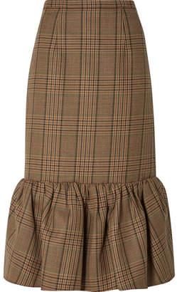 Michael Kors Rumba Fluted Plaid Wool Midi Skirt - Brown
