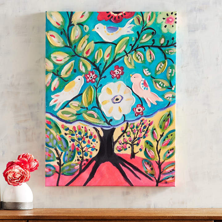 Folksy Tree with Birds Art