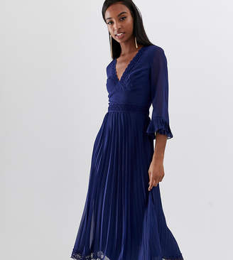 Asos Tall DESIGN Tall pleated midi dress with lace inserts