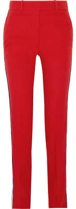 CALVIN KLEIN 205W39NYC - Striped Wool-twill Straight-leg Pants - Crimson $850 thestylecure.com