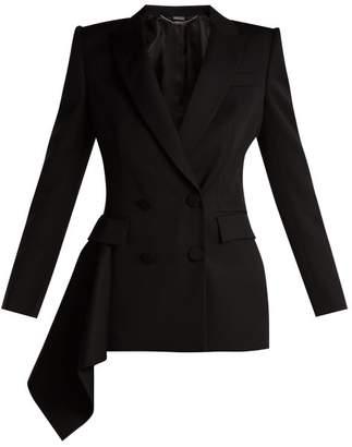 Alexander McQueen Double Breasted Wool Grain De Poudre Jacket - Womens - Black