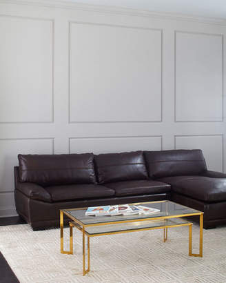 Bernhardt Abraham Leather Right-Facing Chaise Sectional Sofa