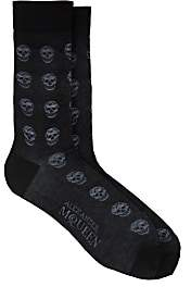 Alexander McQueen Men's Skull-Embroidered Cotton-Blend Mid-Calf Socks - Black