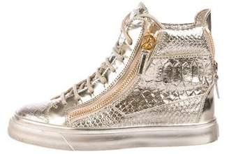 Giuseppe Zanotti Metallic Python Sneakers w/ Tags