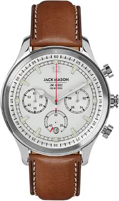 Jack Mason Nautical Chronograph Leather Strap Watch, 45mm