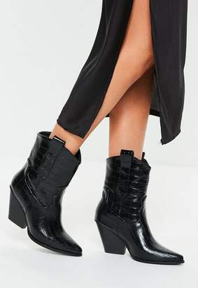 Missguided Black Patent Croc Curved Heel Cowboy Boots